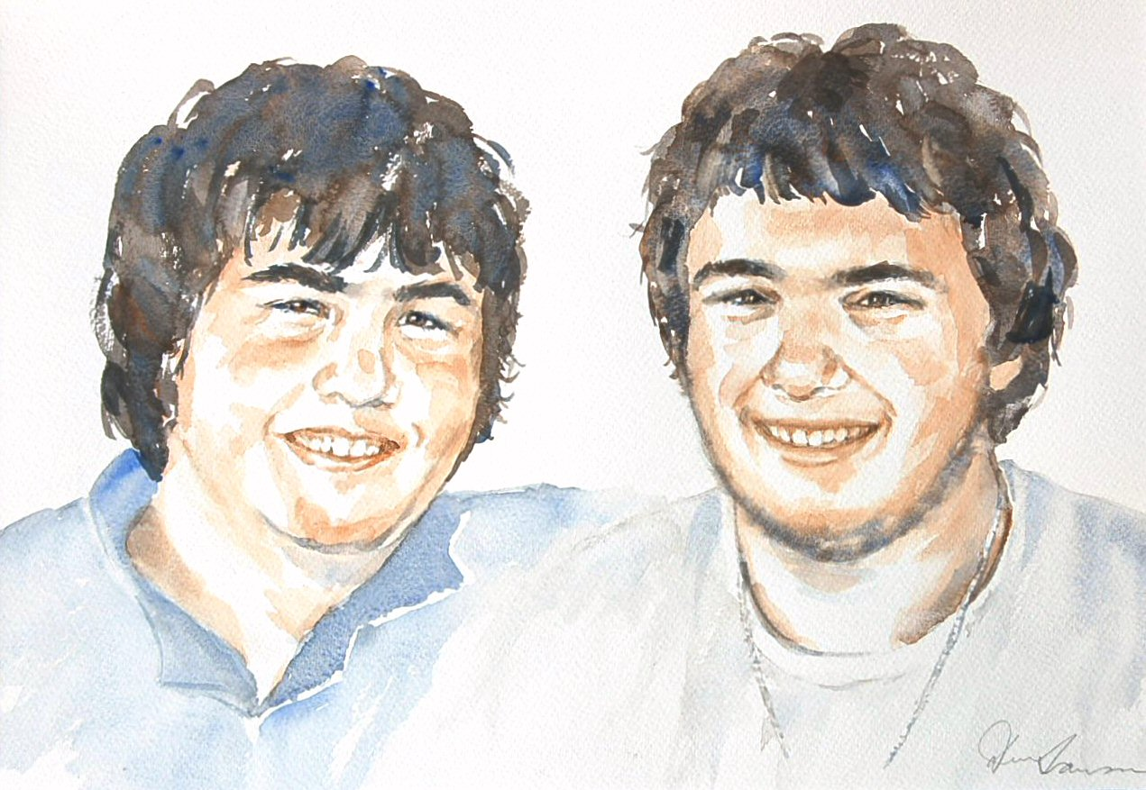Cody & Kyle - Watercolour (45cmx31cm)