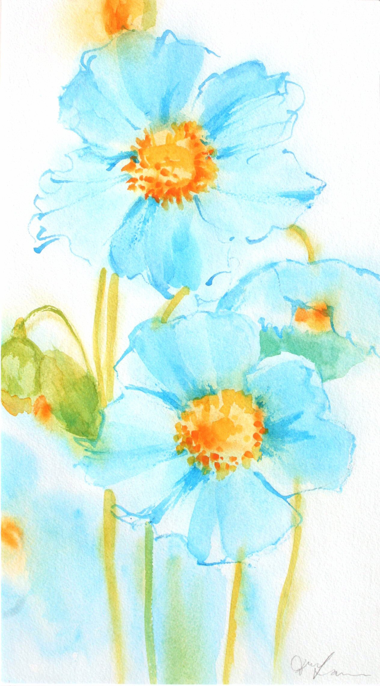 Blue Poppies (27cmx50cm,)