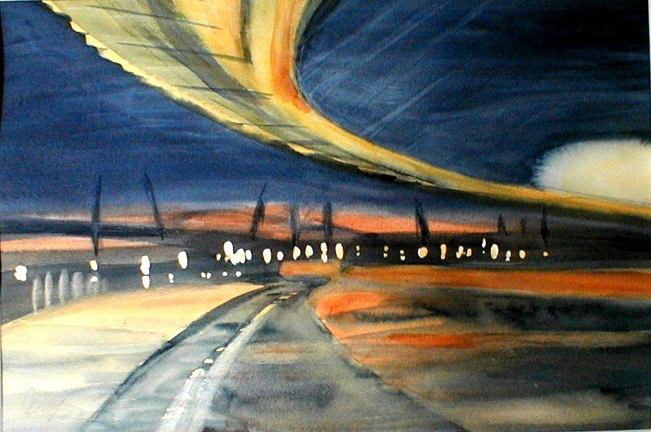 Dusk at Hadrian Road - Gateshead Millennium Bridge - 30cm x 25cm