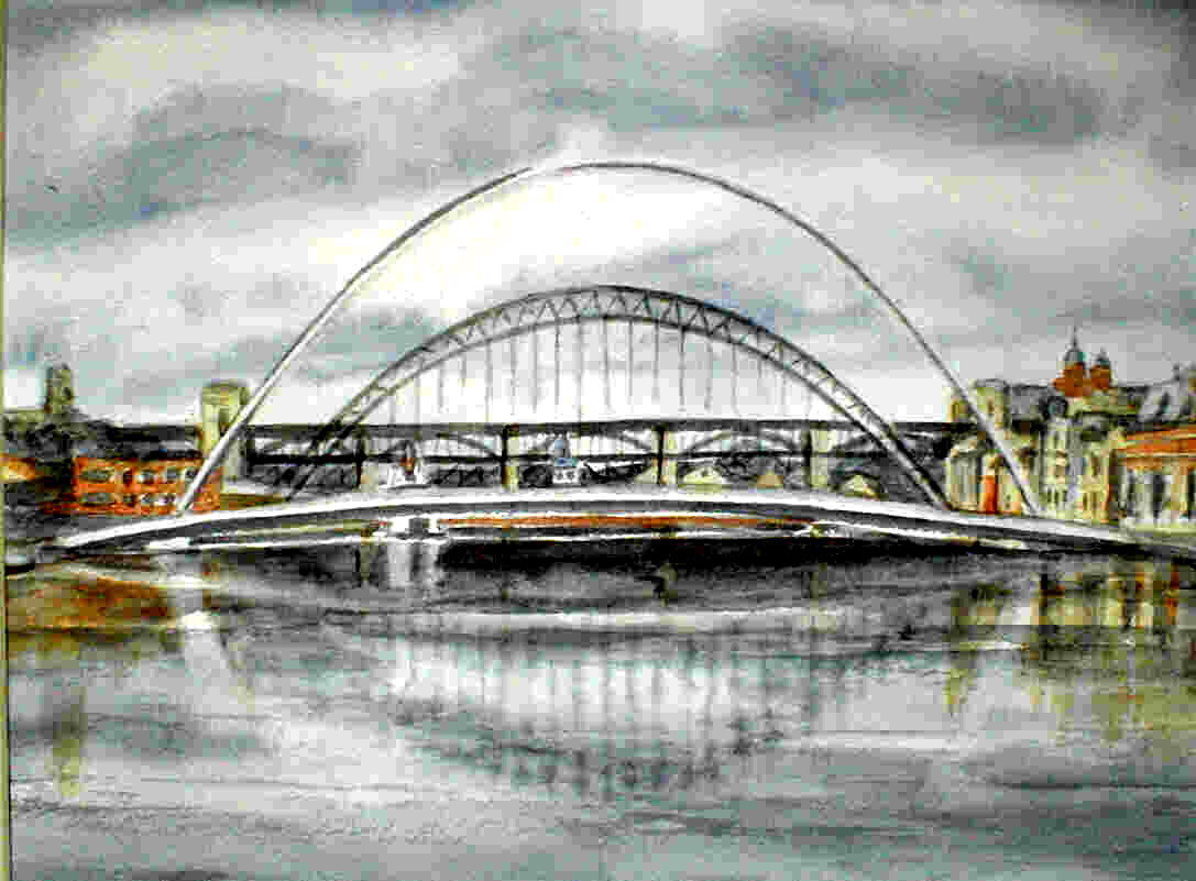 New and Old No 2 - Gateshead Millennium Bridge 31cm x 24cm