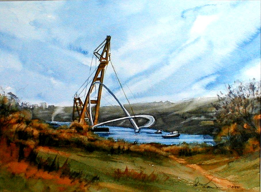 Moving up River with Asian Hecules II No 4 - 37cmx27cm