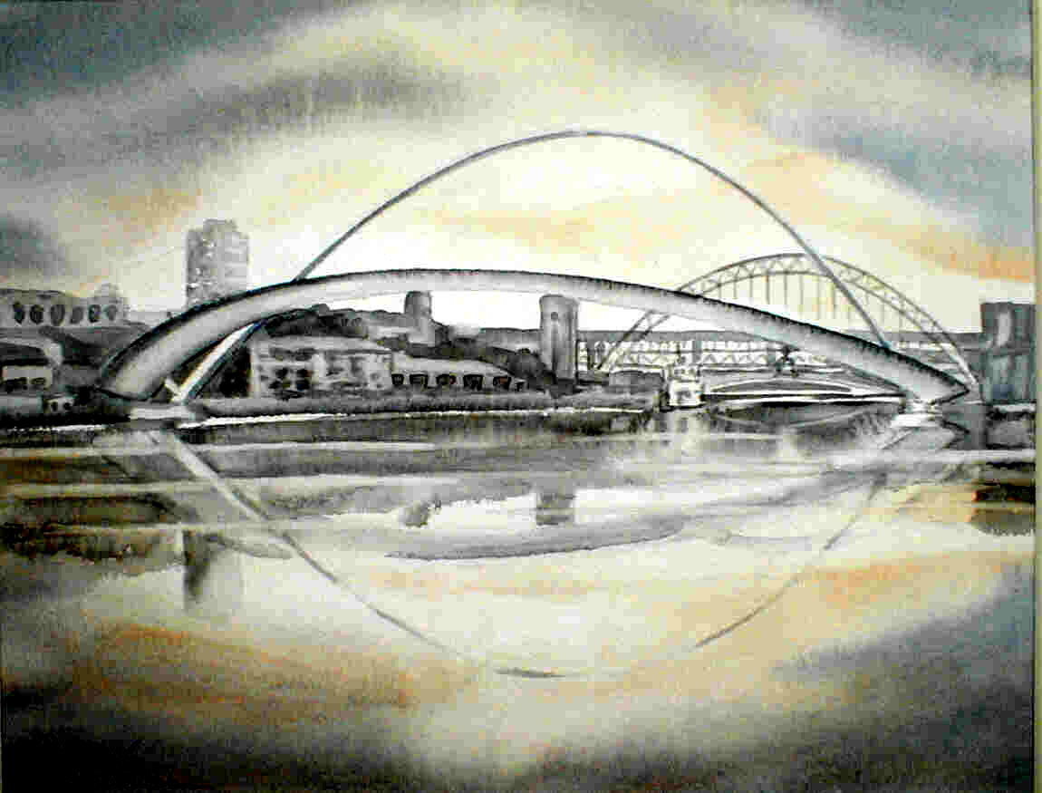 New and Old - Gateshead Millennium Bridge No 3 - 31cmx24cm