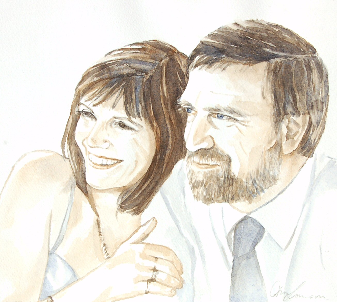 Caroline & Adi - Watercolour (26cmx23cm)