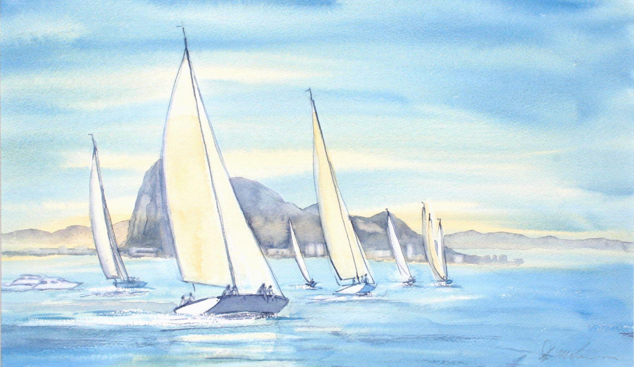 Gibraltar Regattas No 1 - 48cm x 28cm