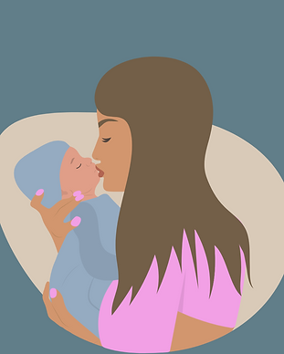 Mother connecting with her child, kissing her child