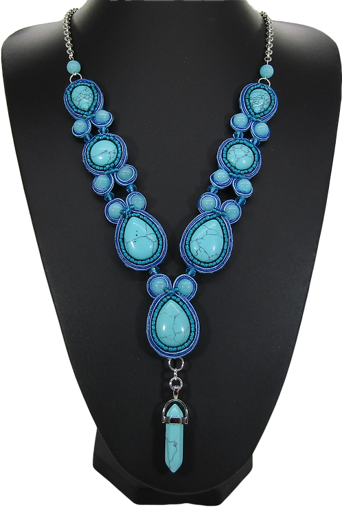 Turquoise and Howlite Chakra Necklace
