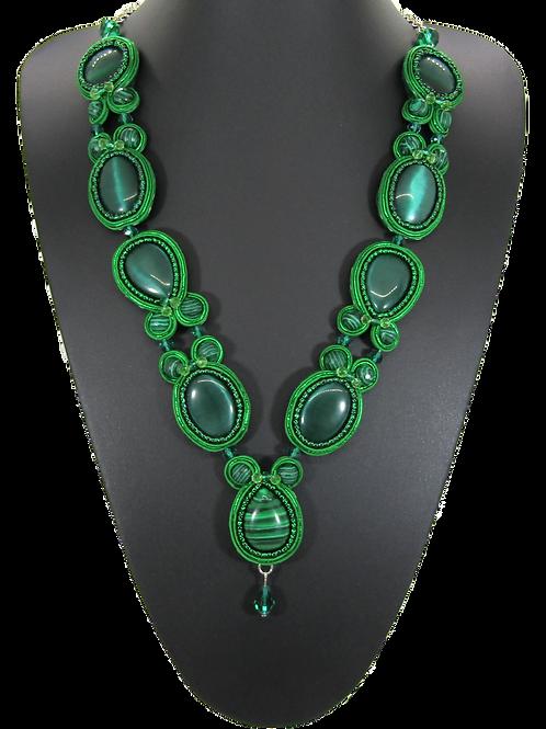 Malachite and Emerald Cat's Eye Necklace