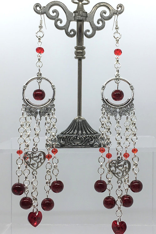 Swarovski Red Crystal Heart Earrings