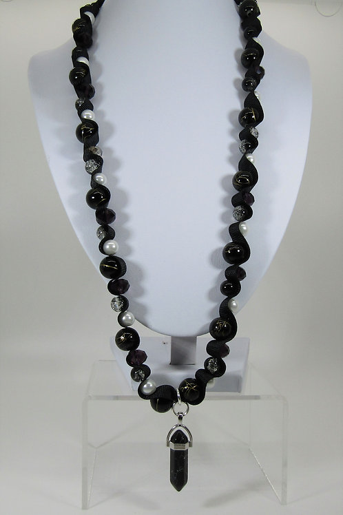 Black Marble Chakra Necklace