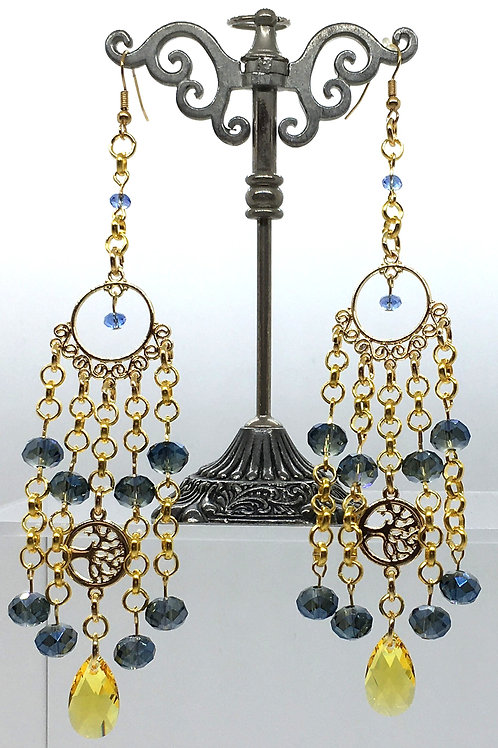 Swarovski Topaz Tree of Life Earrings