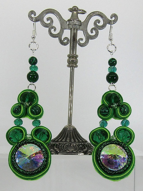 Green AB Crystal Rivoli Chaton Earrings