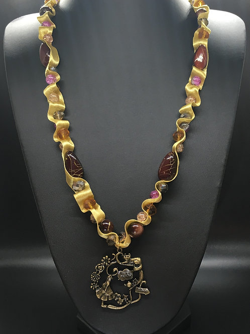 Antique Gold Alice Charm Necklace