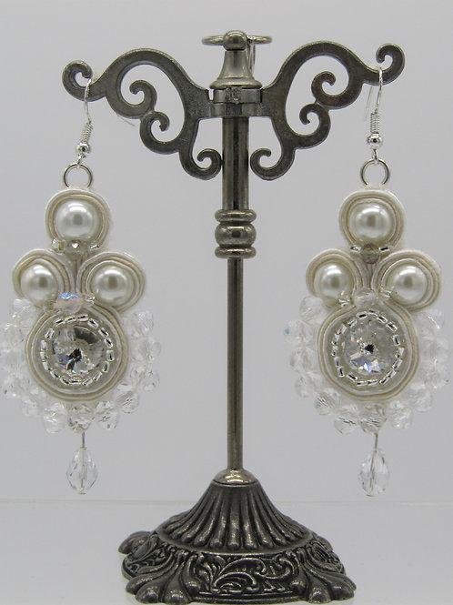 White Pearl Swarovski Rivoli Earrings