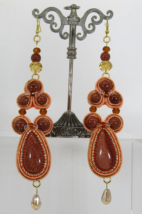 Peach and Gold Sandstone Drop Earrings