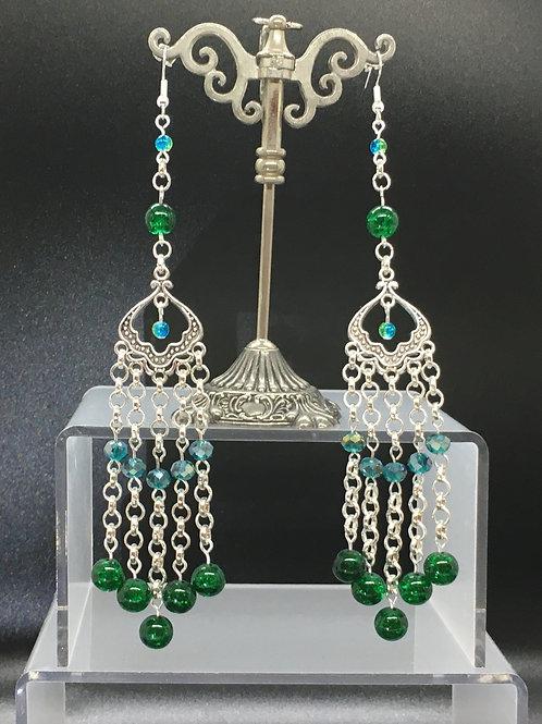 Dark Green Crackle Bead Earrings