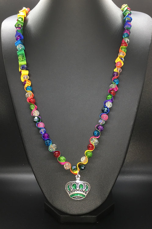 Rainbow Crackle Crown Necklace
