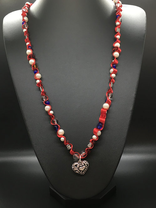 Red Celtic Tibetan Heart Necklace
