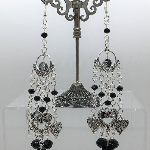 Swarovski Black Crystal Heart Earrings