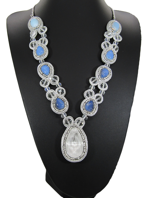 Swarovski Pear Crystal and Opal Drop Necklace