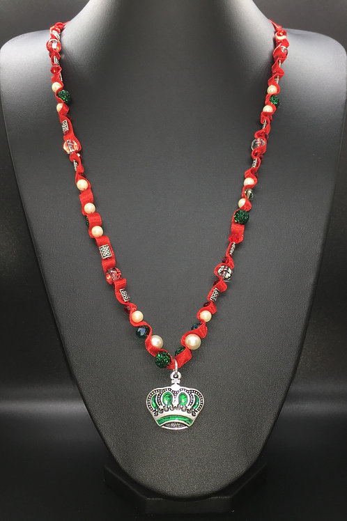 Celtic Red and Green Crown Necklace