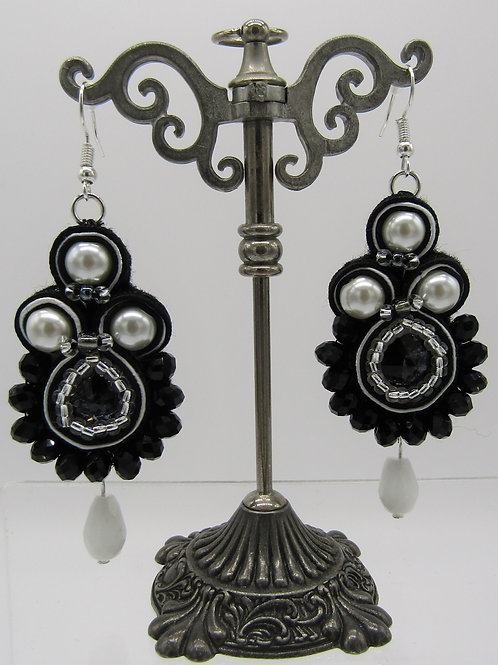 Black and Pearl Swarovski Rivoli Earrings