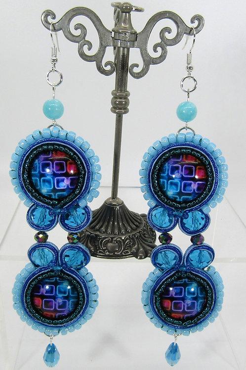 Aqua Disco Earrings