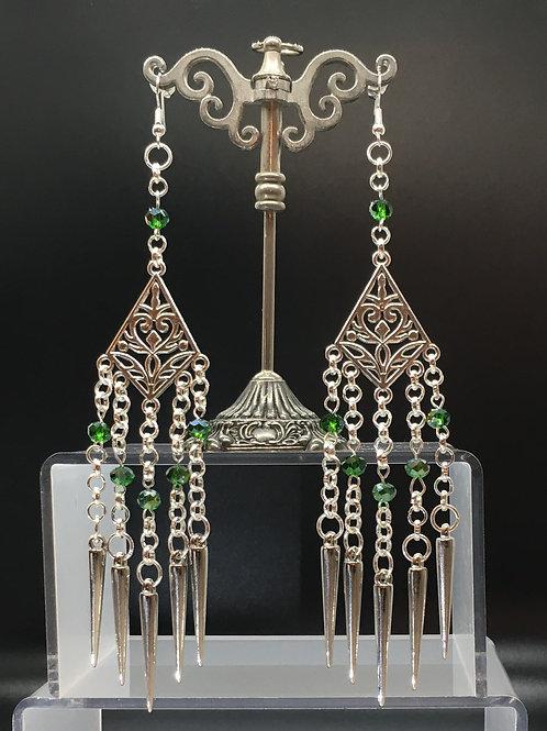 Green Tibetan Style Charm Earrings