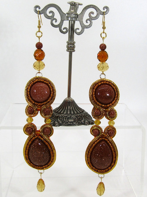 Arabian Nights Gold Sandstone Earrings