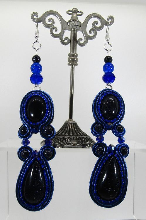 Night Cairo Blue Goldstone Drop Earrings