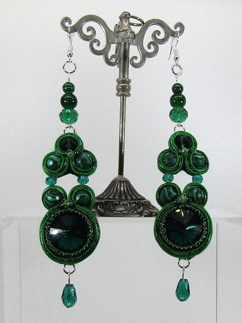 Malachite and Emerald Rivoli Chaton Earrings