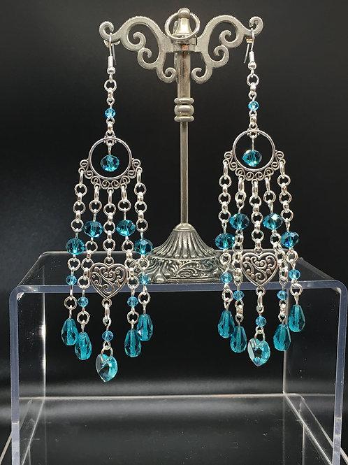 Swarovski Blue Heart Crystal Earrings