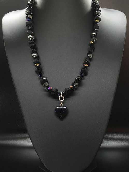 Black Goldstone Heart Necklace