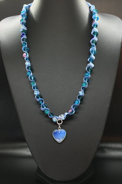 Baby Blue Translucent Heart Necklace