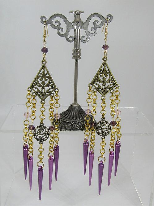 Antique Gold Purple Spike Earrings