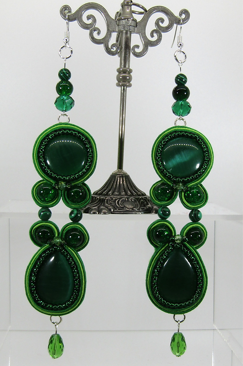 Green Cat's Eye Drop Earrings