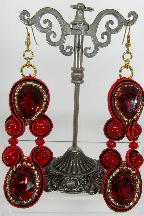 Swarovski Red and Gold Earrings