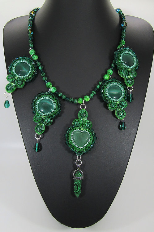 Malachite and Emerald Cat's Eye Drop Necklace