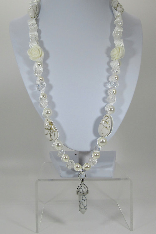 White Marble Chakra Necklace
