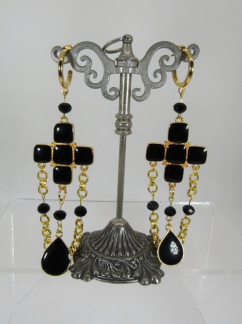 Black and Gold Cross Drop Earrings