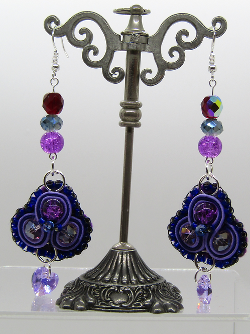 Swarovski Purple Heart Earrings