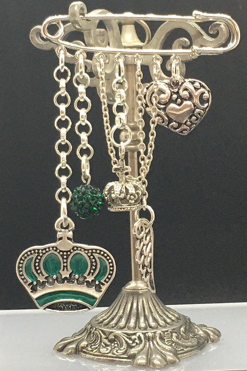 Jade Crown Kilt Pin Brooch