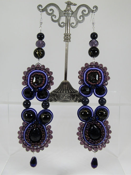 Swarovski Silver Night Goldstone Earrings