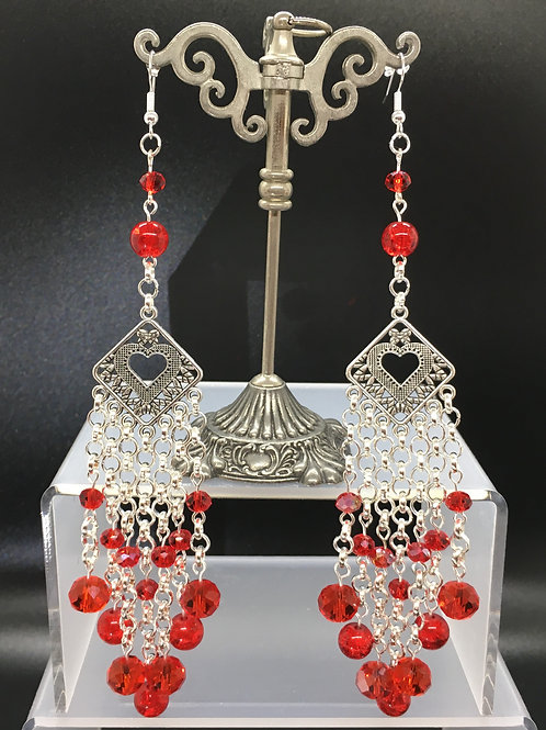 Red Crackle Diamond Heart Earrings