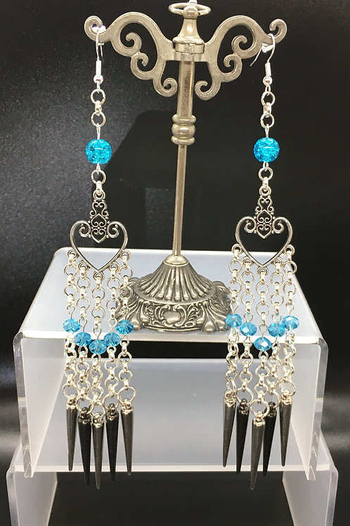 Blue Crystal Heart Spike Charm Earrings