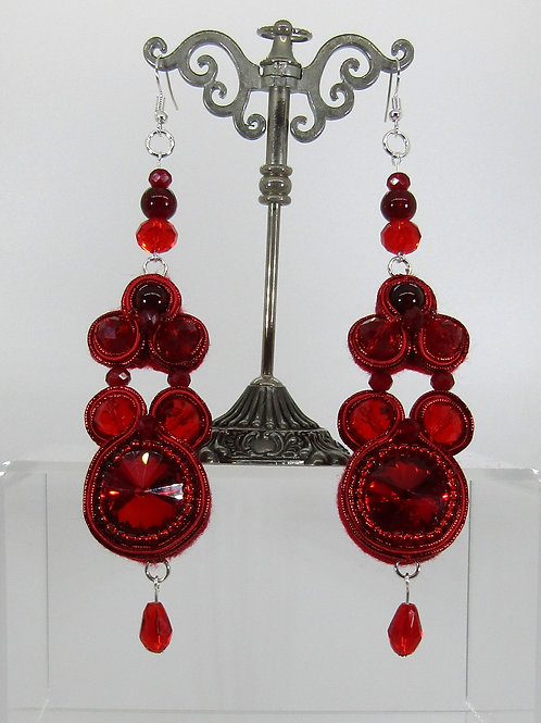 Red Rivoli Chaton Earrings