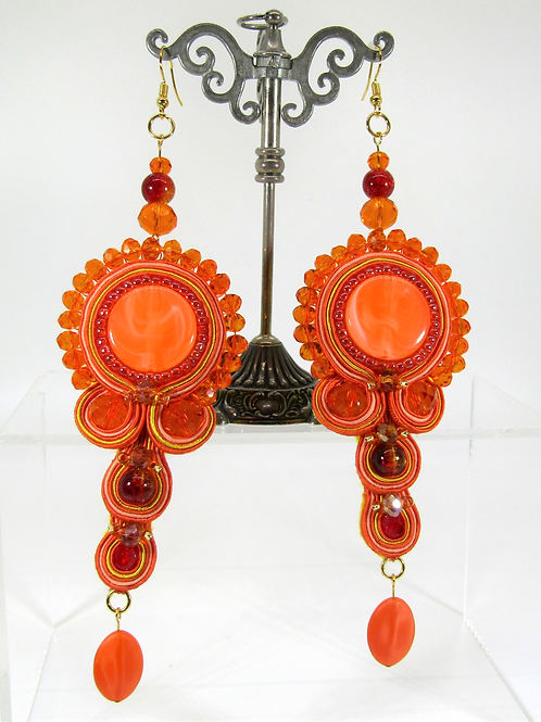 Orange Haze Fruity Disc Earrings