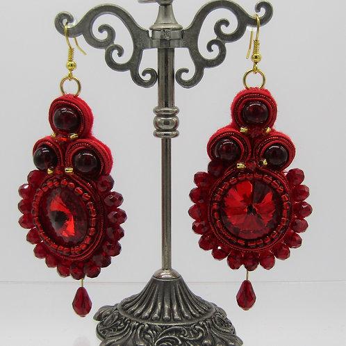 Red Rivoli Crystal Drop Earrings