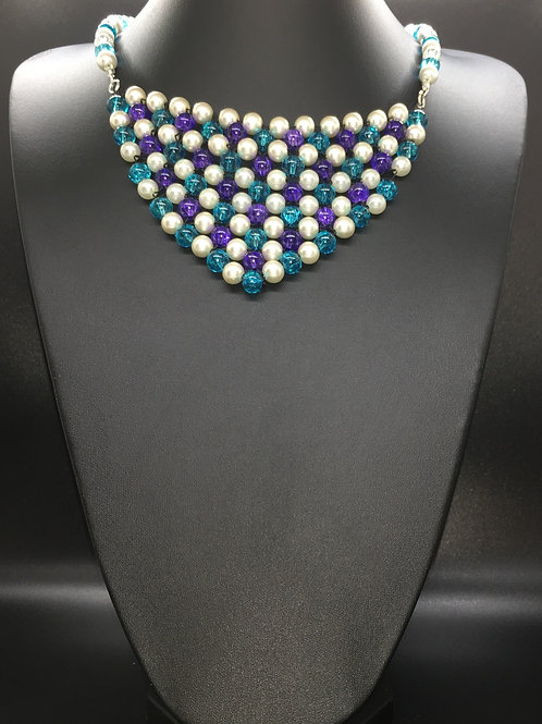Pearl Crackle Weave Necklace