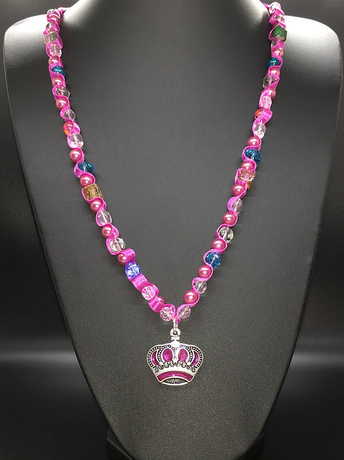 Pink Fuschia Crown Necklace