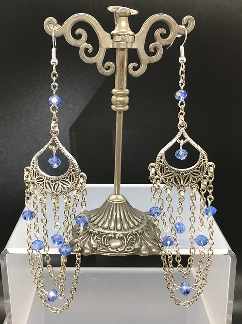 Blue Crystal Chain Earrings